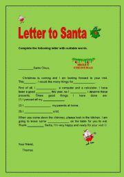 letter to santa esl worksheet by sunnyday