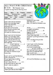English Worksheets: All I want for Christmas is you