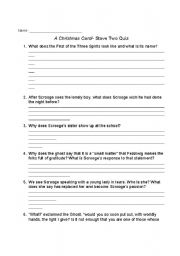 A Christmas Carol Quiz Questions And Answers.English Worksheets A Christmas Carol Stave Two Quiz