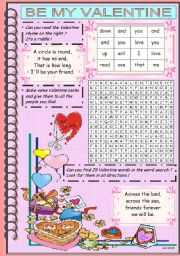 English Worksheet: BE MY VALENTINE