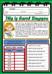 English Worksheets: THIS IS CAROL SIMPSON (2 PAGES)