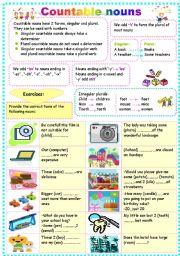 English Worksheets: COUNTABLE NOUNS