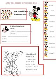 English Worksheet: Learn numbers from 10 to 20 with Mickey Mouse!