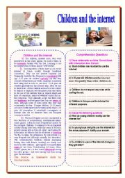 English Worksheet: children and the internet