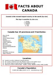 English Worksheet: Facts about Canada
