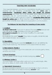 English Worksheets: How to Teach new vocabulary