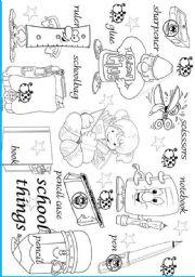 English Worksheet: school things pictionary