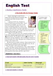English Worksheet: English Test(3 parts): Reading Comprehension/Grammar+ Vocabulary / Writing (WITH KEY ANSWERS)