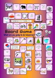 English Worksheet: Board Game - What Are You Going To Do Tomorrow?