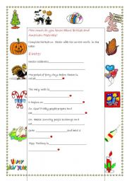 English Worksheet: Quiz on Festivals  -  Part 2: Easter
