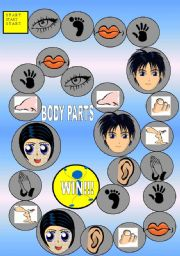 English Worksheet: GAME PARTS OF THE BODY