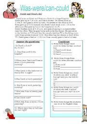 English Worksheet: was-were / can-could