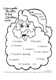 English Worksheet: Unscramble Xmas vocab with KEY