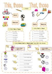 English Worksheet: THIS, THAT, THESE, THOSE