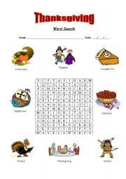 English Worksheet: Thanksgiving word search