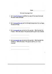 English Worksheets: Savenger Hunt #3