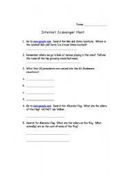 English Worksheets: Scavenger Hunt #5