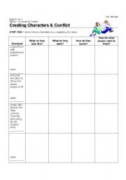 English Worksheets: Creating Characters and Conflict