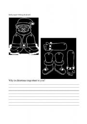 English Worksheets: Santa Puppet and writing assignment