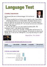 English Worksheets: Language Test: (3 parts):Reading Comprehension/language:Grammar+Vocabulary/ Writing