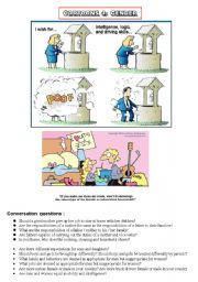 English Worksheet: HANDY THEMATIC COLLECTION of cartoons, vocabulary, conversation questions and essay topics Part 4 - GENDER GAP