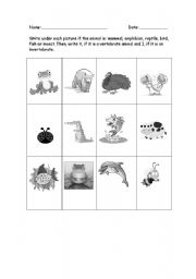 English Worksheets: Classify animals