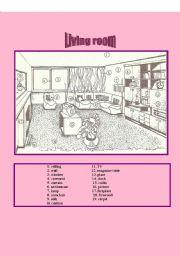 English Worksheet: Living room.