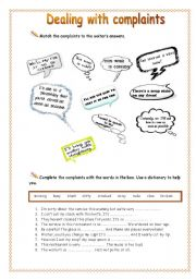 English Worksheet: Dealing with complaints