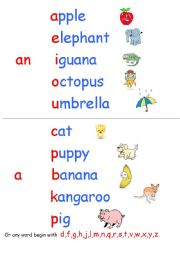 English Worksheet: Indefinite Article a/an Wall Chart