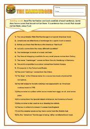 English Worksheet: The Hamburger
