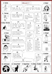 English Worksheet: Who  am I ? (with people)B&W 2/2