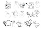 English Worksheets: animals&numbers1-5