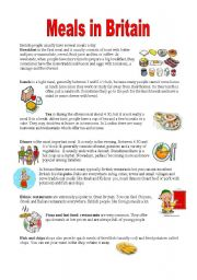 English Worksheet: Meals in Britain