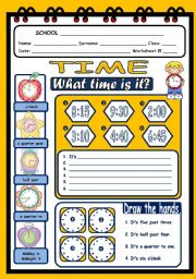 English Worksheet: WHAT TIME IS IT?