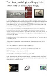 English Worksheet: THE HISTORY AND ORIGINS OF RUGBY