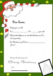 English Worksheet: LETTER TO SANTA-YOUNG LEARNERS