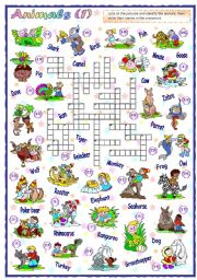 English Worksheets: Animals Crossword (1 of 2)