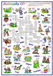 English Worksheets: Animals Crossword (1 of 2)