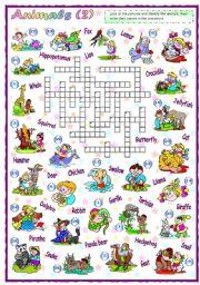 English Worksheets: Animals Crossword (2 of 2)