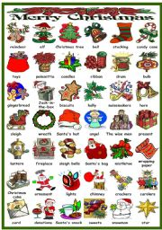 English Worksheet: CHRISTMAS PICTIONARY (B&W VERSION INCLUDED)