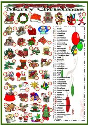English Worksheet: CHRISTMAS - MATCHING (B&W VERSION INCLUDED)