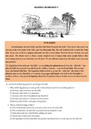 English Worksheets: PYRAMIDS-Reading comprehension