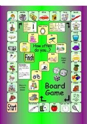 English Worksheet: Board Game - How often do you...? (Frequency adverbs and expressions)
