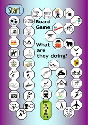 English Worksheet: Board Game - What Are They Doing?