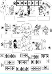 English Worksheet: cut and paste the numbers