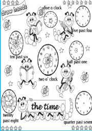 English Worksheet: draw the hands on the clocks