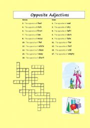 English Worksheet: Crosswords: opposite adjectives and verbs