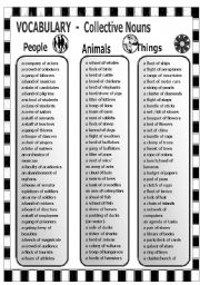 English Worksheets: Vocabulary - Collective Nouns - People - Animals - Things