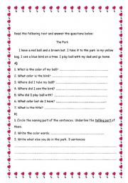 English worksheets: Reading Comprehension Grade 1. The Park