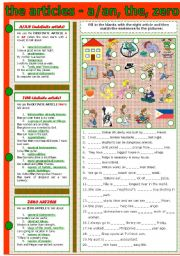 English Worksheet: THE ARTICLE - A/AN, THE, ZERO ARTICLE